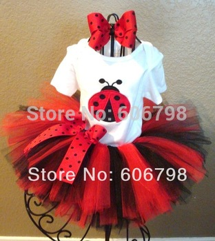 Ladybug T-shirt fluffy tutu skirt with Headband Girl Sets Birthday/Festival/Party /Cosplay Children's Clothing Sets