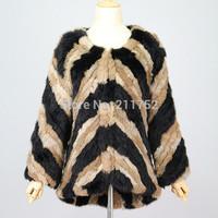 Free shipping High Fashion 2013 Retail Wholesale 100% Natural Rabbit Fur Knitted Jacket Natural Rex Rabbit Fur Coat