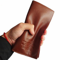 Genuine Leather + Pu leather  long Men's Wallet Pockets + Card Slots Purse-Free Shipping