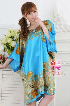 ! Стиль Home Модный Apparel Женщины Plus Размер Nightgown Printed, Brand Ladies Шелк ...
