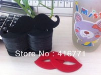 Promotion 1000pcs/lot Cute Design DIY Black Mustache/Red Lips Popular Use For Party Paper Straws Decoration /Free Shipping