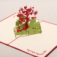Handmade Fall in Love The Angels & Hearts Tree Kirigami & Origami Creative Pop UP Greeting Cards Free Shipping (set of 10)