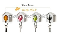 drop shipping sparrow keychain fashion multifunctional lovers bird house keychain key ring for home decoration