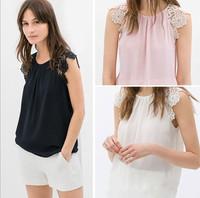 Blusas Femininas Women Summer Blouse 2015 Ladies' Elegant Lace Spliced Sleeve O Neck Sleeveless Shirt Casual Slim Brand Tops