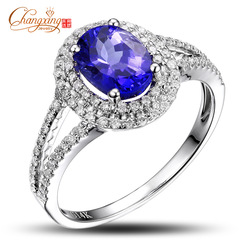 Free Shipping Solid 14K White Gold Natural Diamond Flawless 1.71ctw Tanzanite Engagement Ring Wholesale Fine Jewelry(China (Mainland))