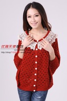 2013 New Fashion Spring Sweater, Hollow Out, Batwing Sleeve, Free shipping C2526