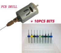 12V small PCB Drill mini Press Drilling +10pcs  Micro Drills Set 0.2mm - 1.2mm Pcb Cnc Press Fits drill  Bits