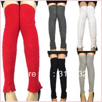 Free shipping Women Knit Stripe Crochet Leg Winter Warmers Legging Finger Gloves Leg Sleeve 5 colors