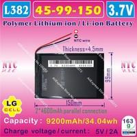 [L074] 3.7V,9200mAH,[4599150] PLIB (polymer lithium ion battery/ LG cell )Li-ion battery for tablet pc;ONDA V971,V972 quad core