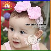Infant baby newborn headbands flower elastic lace head band bebe;Toddler girls hair bows hairband #2B2163 10pcs/lot(2 colors)