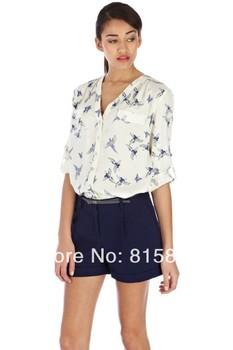 New 2013 Fashion Ladies' Elegant Butterfly Bird Animal Print Blouses Long Sleeve Casual Slim Shirts Stylish Sexy V-neck Tops