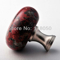 Hot Furniture Hardware,40mm African Red Granite Kitchen Cabinet Knob Cupboard Knobs Closet Handles,Natural Stone with Brass Base