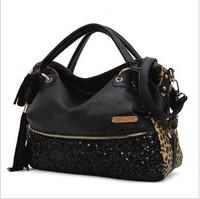 Free shipping 2014 new woman fashion handbag tassel paillette leopard print messenger bag shoulder cross-body bag