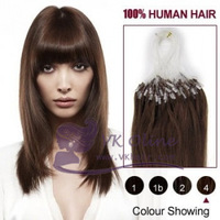 "100s 18""20""22"" Remy Loop Hair Extension #04 - medium brown  Micro Ring Human Hair 0.5g/s,50g  [Vkhair]"