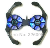 dual fan 70mm fan  blue LED light Collapsible, octopus laptop fan laptop cooler cooling laptop cooling pad [min order $8]