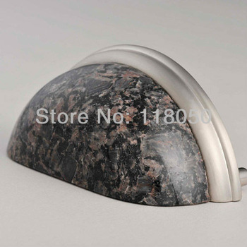 "3"" Cafe Bahia Granite Cup Pull,Brown Stone Drawer Pulls,Decorative Kitchen Cabinet & Cupboard Handles,Classic Furniture Hardware"