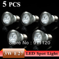 Free Shiping 5Pcs/lot 3W 5W E27 LED Spot Light Bulb lighting E27 Cool white/White AC85-265V