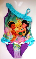2014 new item girl one piece swimwear frozen elsa and anna peppa pig barbie kids costume