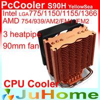90mm fan, 3 heatpipe, Intel LGA1366/1550/1155/1156/775, AMD 754/939AM2/AM2+/AM3/FM2, cpu radiator, CPU cooler, PcCooler S90H