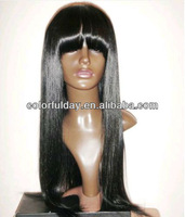 FREE SHIPPPING Wholesale 100 virgin brazilian lace front wig with full bangs no shedding tangle free