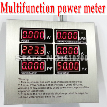 Freeshipping Multifunction power meter LED Digital Power monitoring  metering socket  kwh meter AC energy meter AC power meter