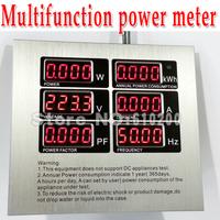 Freeshipping Multifunction power meter LED Digital Power monitoring metering socket  kwh meter AC power meter