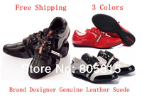 Free Shipping Brand Designer Genuine Leather Suede Women Black Flats Sneakers Shoes For Women Red White 3 Colors 35-42 Size