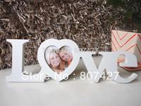 "1 x MDF WHITE ""LOVE"" Style Desktop Hanging Photo Wedding Dress Photo Frame"