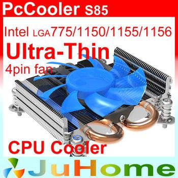 ultra-thin, 27mm, 8cm fan 4pin fan, 2 heatpipe, for HTPC mini case, Intel LGA775 1150 115x, CPU fan, CPU cooler, PcCooler S85