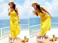 Summer Beach Dresses 2013 Cotton Long Maxi Dress Open Back Cut Out Plain Yellow Cotton Bohemian Maxi Dress for Women Free Mail