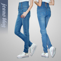 New Arrival Vintage Ladies Short Denim Jeans Simple  Solid Jeans Free Shipping KD3012
