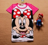 Free shipping women red sleeve minnie spiderman mickey duck cartoon t shirt lady short-sleeve 100% cotton t shirt