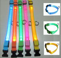 FREE SHIPPING LED Dog Flashing Light Up Collar Yellow / Blue / Green / Orange / Pink New #P33