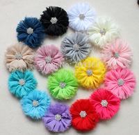 Chiffon Flowers ballerina ruffle flower accessories with rhinestone DIY Flowers 50Pcs/lot