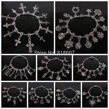 Pulseira de prata antigo europeu europeu Beads círculo com pingente encantos do amor pressão fecho de cobre pulseira cadeia europeia(China (Mainland))