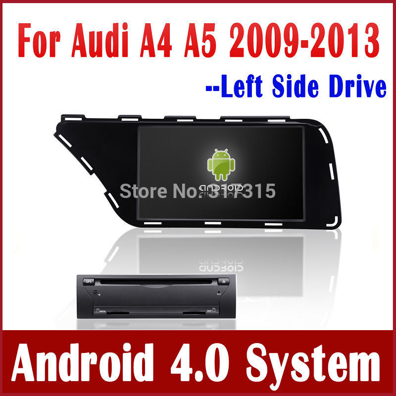 Android 4.0 Car PC Car DVD Player for Audi A4 / A5 2009-2013 with GPS Navigation Stereo Bluetooth Radio TV Map USB Vdieo 3G WIFI(China (Mainland))