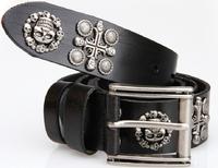 100% Genuine Leather Men Vintage Punk Skull Belt Man Cowhide Rivet Hip Brand Wide Black Belts Mens 125cm Strap Cinto TBT0044