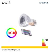 Free Shipping GOOD Remote Control 16 Colors E27 3W RGB Spotlight, 110V  220V 85~265V GU10 GU5.3  E14 MR16 led  bulb lamp lamps
