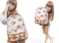 Free Shipping Women Fashion Vintage Cute Flower School Book Campus Bag Backpack New 5 Colors