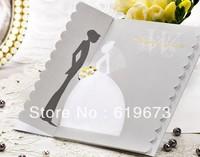 Silver Scalloped Edge Bride & Groom Wedding Invitation card Free Shipping customizable