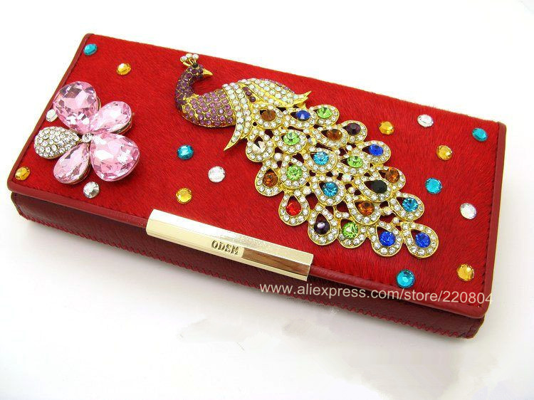2013 Newest! Fashion diamante peafowl brand rhinestone wallet horsehair ladies purse KQ3100(China (Mainland))