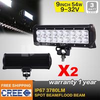 FREE FEDEX SHIPPING 2PCS 9INCH 54W CREE LED LIGHT BAR  FLOOD FOR OFF ROAD LED BAR IP67 4WD ATV UTV SUV LED WORK LIGHT BAR