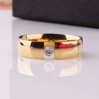 tabula rasa zircon cz 316L Stainless Steel finger ring 18K GOLD PLATED 6mm jewelry Free shipping wholesale