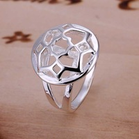 Wholesale 925 Silver Ring,925 Silver Fashion Jewelry Circular hollow  Ring Free Shipping SMTR114
