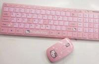 Wireless Hello Kitty Keyboard Mouse Free Shipping Ergonomically Designed PC Peripherals Adorable Pink Cartoon Keyboard