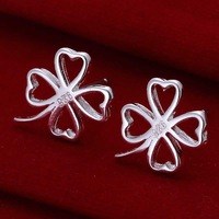 Wholesale 925 Silver Earring,925 Silver Fashion Jewelry Four-leaf Clover Earrings Free Shipping SMTE101