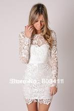 PROMOTION Free Shipping New Arrival Sheath Full Sleeve Knee Length Short Lace Wedding Dress Reception Dress(China (Mainland))