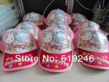 Free shopping 2013 New  Bonnet wholesale Hello Kitty children's hat sunbonnet children baseball cap peaked cap cool cap 2 colour