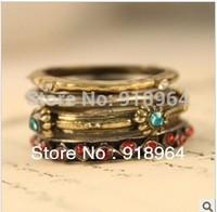 C089 Men Women Gypsy Bohemia Persian Baroque Vintage Jewelry Rings 4 in 1 Finger Rings
