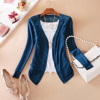 Women Lace Sweet Candy Color Crochet Knit Blouse Sweater Cardigan W4023
